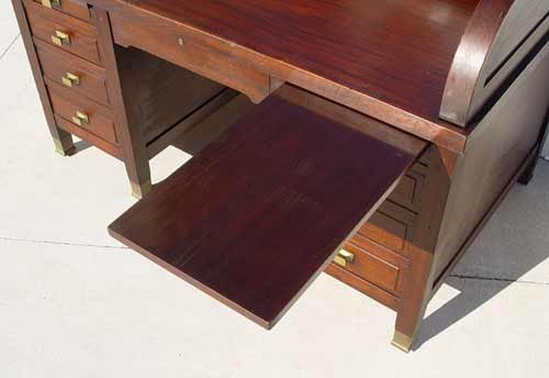 "1169: LARGE MAHOGANY ""C"" ROLL TOP CLEMCO DESK - 3"