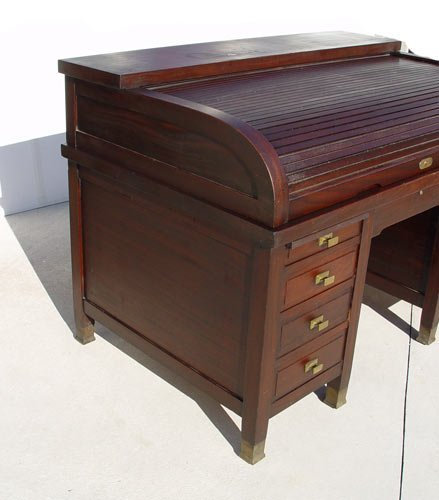 "1169: LARGE MAHOGANY ""C"" ROLL TOP CLEMCO DESK - 4"