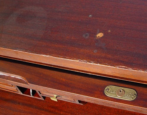 "1169: LARGE MAHOGANY ""C"" ROLL TOP CLEMCO DESK - 7"