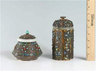 2 PC. CHINESE SILVER FILIGREE BOX COLLECTION