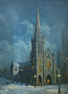 EXHIBITED ST PARTRICK'S CHURCH ROCHESTER PAINTING