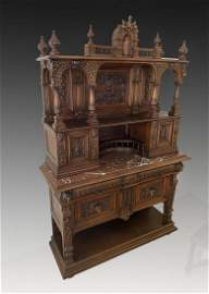 BELGIAN CARVED MARBLE TOP STEPBACK CUPBOARD