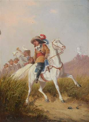 ILLEGIBLY SIGNED MILITARY PTNG SOLDIERS ON HORSEBACK