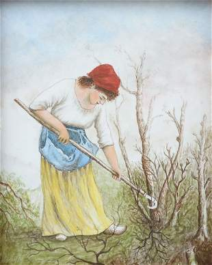 PAINTING ON PORCELAIN OF A FRENCH PEASANT GIRL