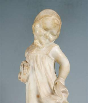 ITALIAN ALABASTER SCULPTURE OF A GIRL BY BIAGINI