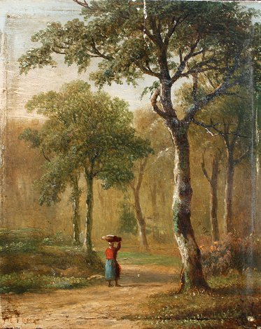 4: 19th C FOREST SCENE PAINTING MONOGRAMMED