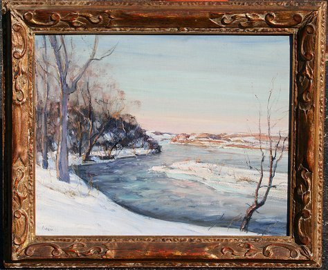 180: W.E. BAUM DELAWARE RIVER NEW HOPE PAINTING
