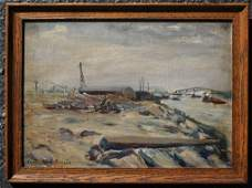 205 EVERETT S BROWN HARLEM RIVER NYC PAINTING