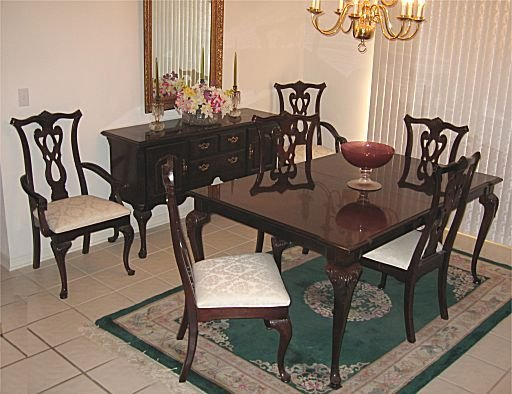 20A: THOMASVILLE DINING TABLE 6 CHAIRS mahogany