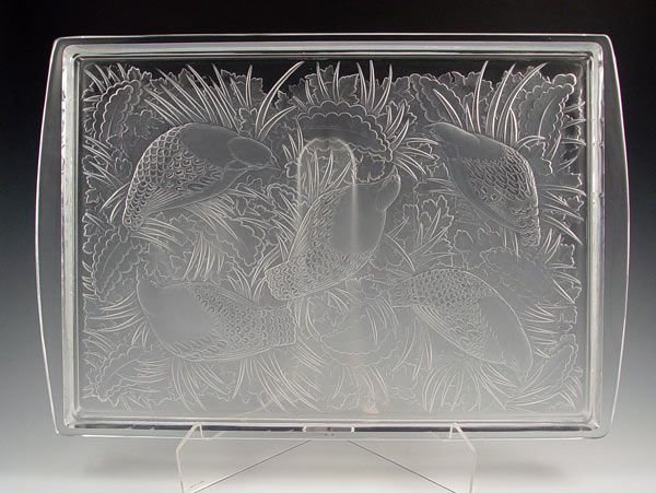 17: LARGE LALIQUE FRENCH CRYSTAL PARTRIDGE TRAY