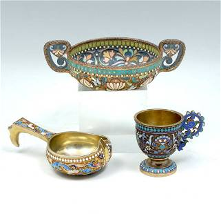 3 RUSSIAN SILVER & CLOISONNE CUPS