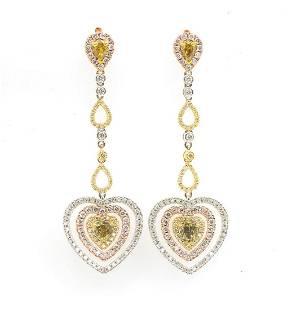 14K 308 CTW WHITE COLORED DIAMOND DANGLE EARRINGS