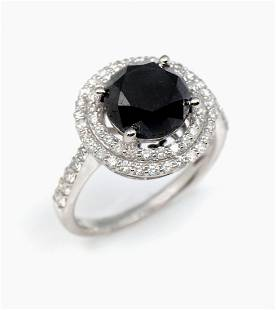 14K BLACK WHITE DIAMOND RING