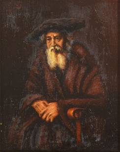 OLD RABBI PAINTING AFTER REMBRANDT