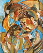 MARY MOREZ PAINTING CUBIST FAMILY