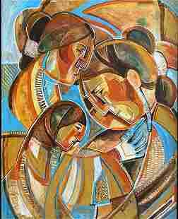 MARY MOREZ PAINTING CUBIST FAMILY