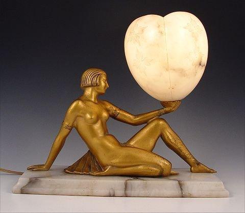 1: ART DECO NUDE FIGURAL LAMP