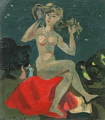 8: ROLAND OUDOT NU ASSIS NUDE PAINTING