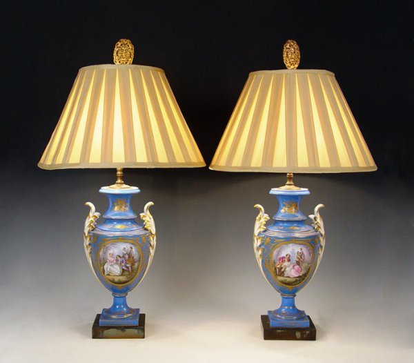 10: PAIR SIGNED SEVRES FRENCH PORCELAIN LAMPS