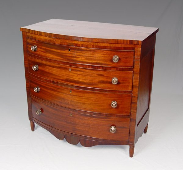 16: 1820'S  FEDERAL PERIOD CHERRY BOWFRONT CHEST
