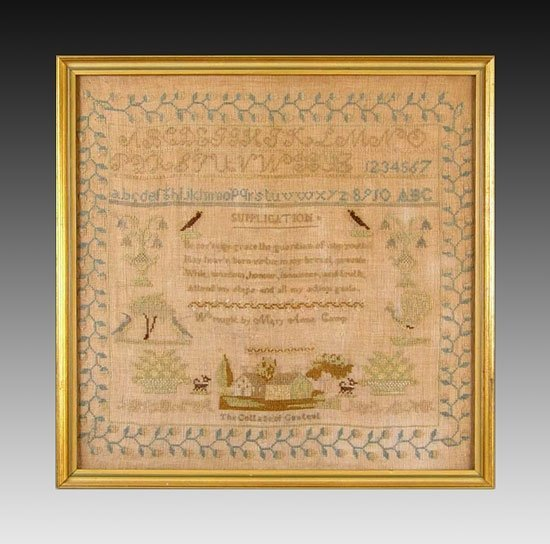 17A: 19TH C HAND WORKED SUPPLICATION SAMPLER