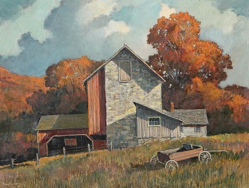 180: IMPORTANT ERIC SLOANE AUTUMN COLOR BARN PAINTING