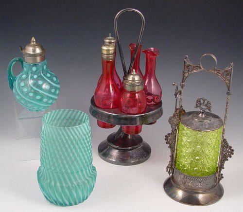 VICT. ART GLASS OPALESCENT SYRUP CELERY CASTORS