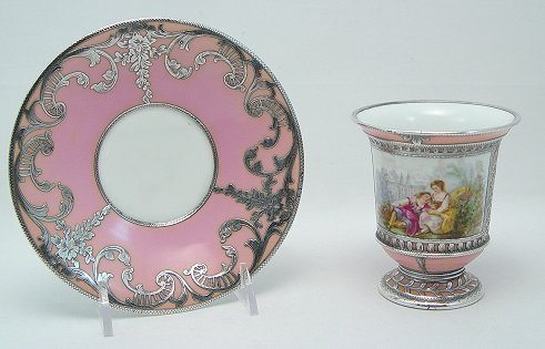 1001: SILVER OVERLAY SEVRES FRENCH PORCELAIN CUP SAUCER