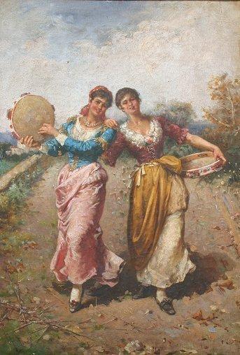 1021: PELUSO 19TH C ITALIAN GYPSY PAINTING