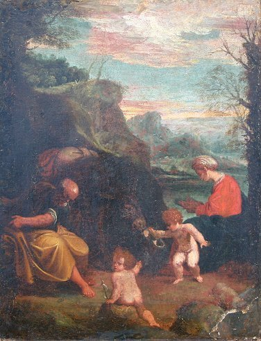 1023: IMPORTANT OLD MASTER FLIGHT INTO EGYPT PAINTING