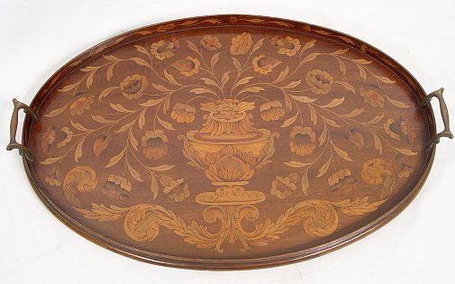 1013: MARQUETRY INLAY SERVING TRAY FLOWER FILLED URN