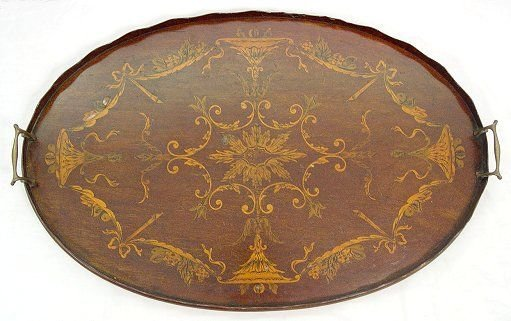 1008: MARQUETRY INLAY SERVING TRAY