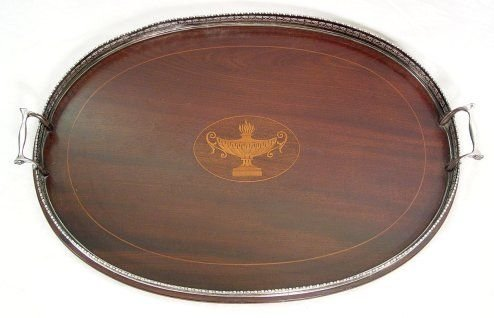 1005: GOODNOW JENKS STERLING RIMMED MARQUETRY TRAY