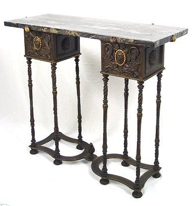 1012: 1920's BRONZE MARBLE TOP CONSOLE TABLE