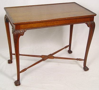 1004: CARVED MAHOGANY SIDE TABLE W  BALL & CLAW FEET