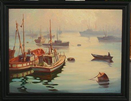 1343: V. SHKURKIN HARBOR SCENE CALIFORNIA ARTIST