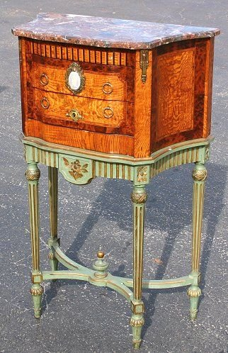 1017: FRENCH MARBLE TOP MARQUETRY CHEST ON STAND