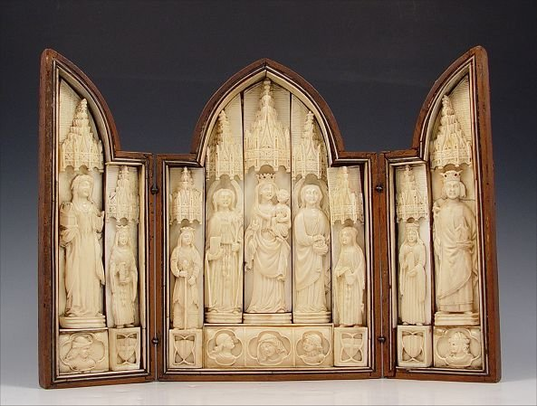 2: EARLY CARVED IVORY TRIPTYCH OF MADONNA AND SAINTS