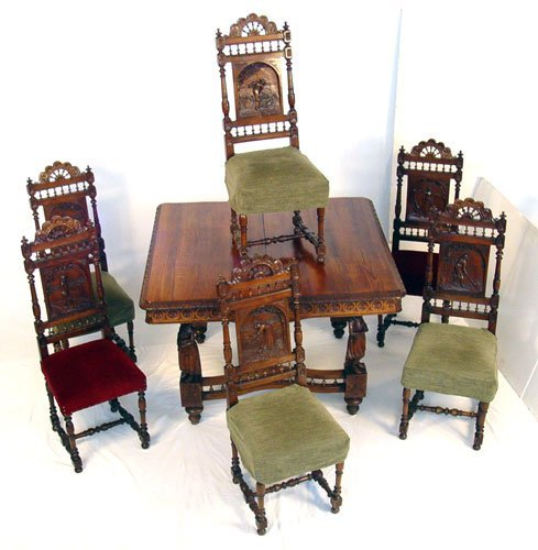 7: 19TH C FIGURAL CARVED FRENCH / DUTCH DINING TABLE