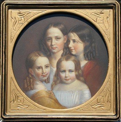 12: SUPERIOR W/C GOUACHE PORTRAIT OF FOUR SISTERS