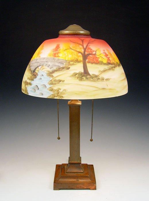 14: DESK LAMP SIGNED MILLER SHADE SIGNED KINCAID