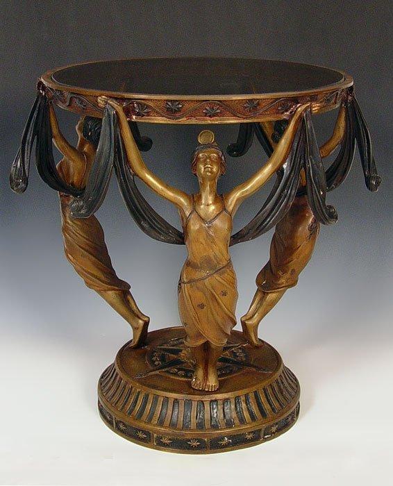 15: BRONZE ART NOUVEAU / DECO STYLE FIGURAL  SIDE TABLE