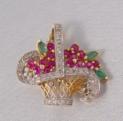 4: DIAMOND AND GEMSTONE BASKET FIGURAL PIN PENDANT