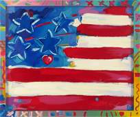 LARGE PETER MAX FLAG WITH HEART SERIGRAPH