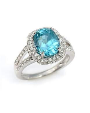 14K 608 CT BLUE ZIRCON DIAMOND RING