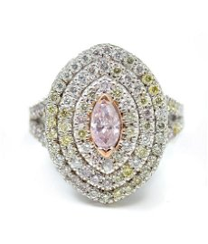 RARE 18K 2.06 CTW PINK, YELLOW/WHITE DIAMOND RING