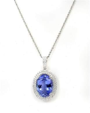 PLATINUM 139CT DIAMOND TANZANITE NECKLACE