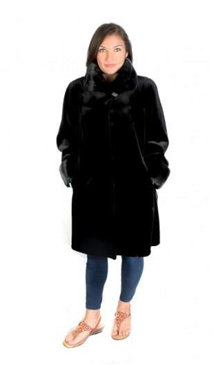 LONG BLACK SHEARED BEAVER COAT WITH MINK TRIM