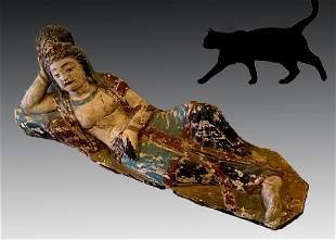 LARGE EARLY CARVED CHINESE RECLINING QUAN YIN