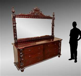 CARVED DRESSER WITH MIRROR